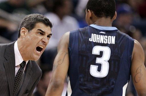 Villanova coach Jay Wright, left, yells at guard Tyrone Johnson during the first half of an NCAA college basketball game against South Florida on Wednesday Feb. 15, 2012, in Tampa, Fla. (AP Photo/Chris O'Meara)