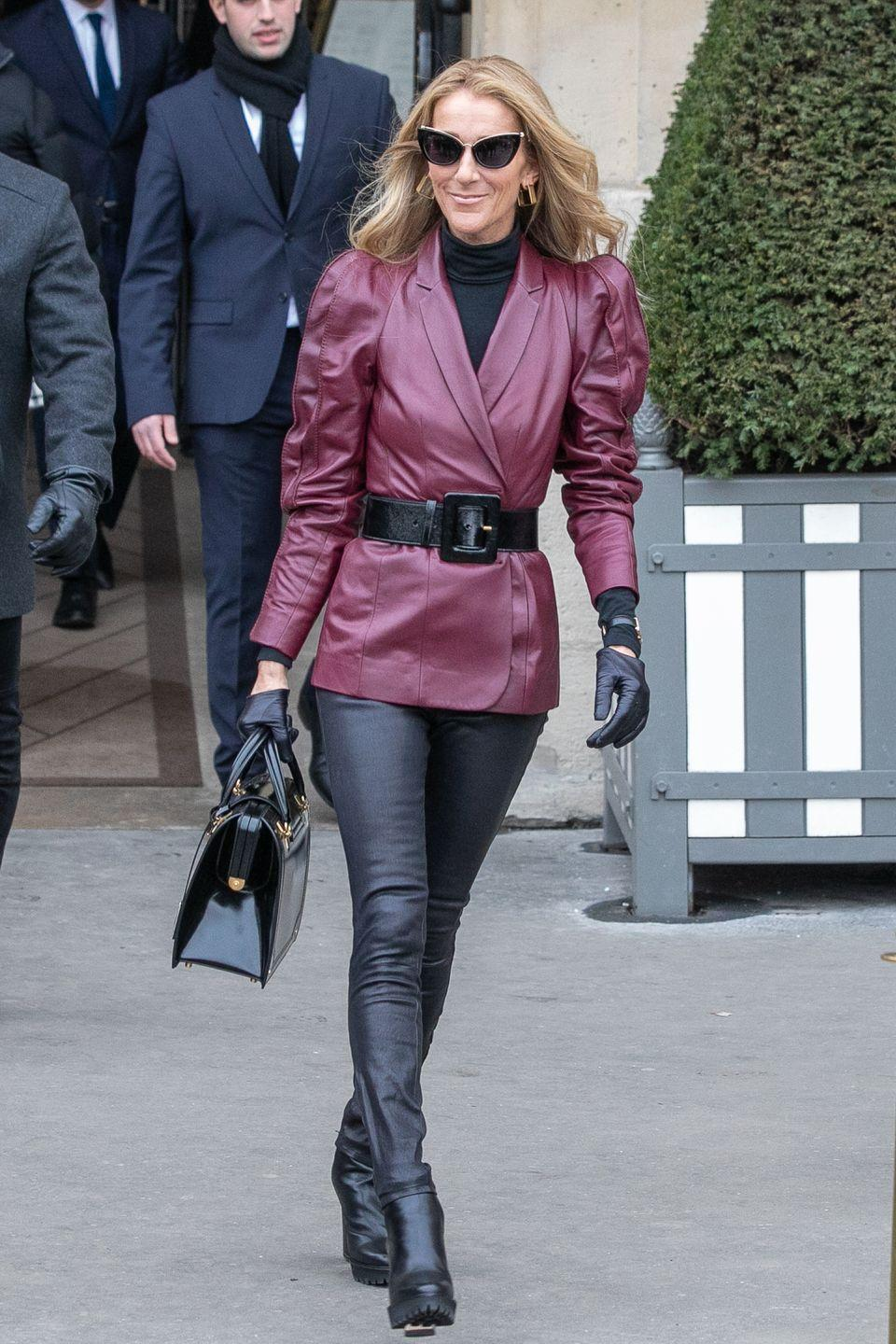 <p>In a head-to-toe leather look by Nicholas Kirkwood during Paris Couture Week. </p>