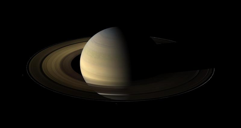 Of the countless equinoxes Saturn has seen since the birth of the solar system, this one, captured here in a mosaic of light and dark, is the first witnessed up close by an emissary from Earth on August 12, 2009.