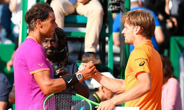 "<span class=""element-image__caption"">Rafael Nadal shakes hands with David Goffin after their semi-final on Saturday.</span> <span class=""element-image__credit"">Photograph: Yann Coatsaliou/AFP/Getty Images</span>"