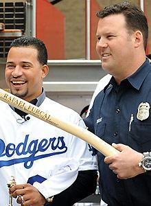 The L.A Fire Dept. and Los Bomberos presented Rafael Furcal with the keys