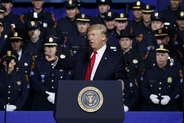 President Trump speaks to law enforcement officials about the street gang MS-13, July 28, 2017, in Brentwood, N.Y. (Photo: Evan Vucci/AP)