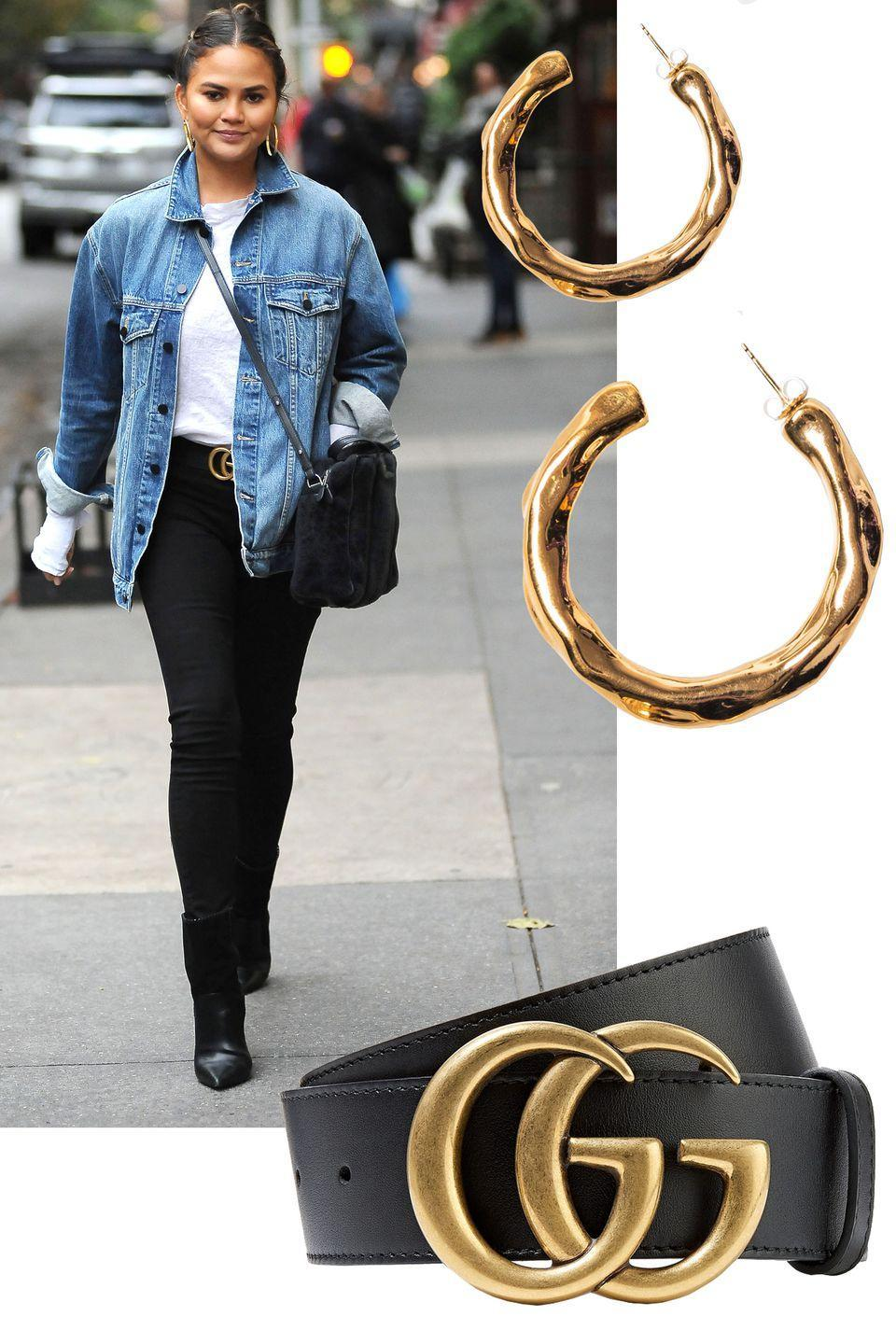 """<p>Make your denim stand out with accents of gold in the form of eye-catching accessories from gold hoops to logo belts à la Chrissy Teigen.</p><p><em>The M Jewelers NY hoops, $65, <a href=""""https://www.revolve.com/r/DisplayProduct.jsp?aliasURL=the-m-jewelers-ny-bamboo-hoop-earrings-in-gold%2Fdp%2FTSNR-WL24&d=F&countrycode=US&gclid=CjwKCAjwm-fkBRBBEiwA966fZJVI5NotUtkKEJaYE1HSz18EqGEPP-H7tc1xSCmjexORyvlDiehZkRoCKX4QAvD_BwE&product=TSNR-WL24"""" rel=""""nofollow noopener"""" target=""""_blank"""" data-ylk=""""slk:revolve.com"""" class=""""link rapid-noclick-resp"""">revolve.com</a>.</em></p><p><a class=""""link rapid-noclick-resp"""" href=""""https://www.revolve.com/r/DisplayProduct.jsp?aliasURL=the-m-jewelers-ny-bamboo-hoop-earrings-in-gold%2Fdp%2FTSNR-WL24&d=F&countrycode=US&gclid=CjwKCAjwm-fkBRBBEiwA966fZJVI5NotUtkKEJaYE1HSz18EqGEPP-H7tc1xSCmjexORyvlDiehZkRoCKX4QAvD_BwE&product=TSNR-WL24"""" rel=""""nofollow noopener"""" target=""""_blank"""" data-ylk=""""slk:SHOP"""">SHOP</a><br></p><p><em>Gucci belt, $350, <a href=""""https://www.gucci.com/us/en/pr/women/womens-accessories/womens-belts/womens-casual/leather-belt-with-double-g-buckle-p-409417AP00T1000"""" rel=""""nofollow noopener"""" target=""""_blank"""" data-ylk=""""slk:gucci.com"""" class=""""link rapid-noclick-resp"""">gucci.com</a>.</em></p><p><a class=""""link rapid-noclick-resp"""" href=""""https://www.gucci.com/us/en/pr/women/womens-accessories/womens-belts/womens-casual/leather-belt-with-double-g-buckle-p-409417AP00T1000"""" rel=""""nofollow noopener"""" target=""""_blank"""" data-ylk=""""slk:SHOP"""">SHOP</a><br></p>"""