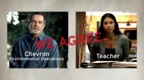 A screenshot from a TV advertisement created in 2010 as part of the 'We Agree' campaign by ad agency McGarryBowen for the oil company Chevron Corp.