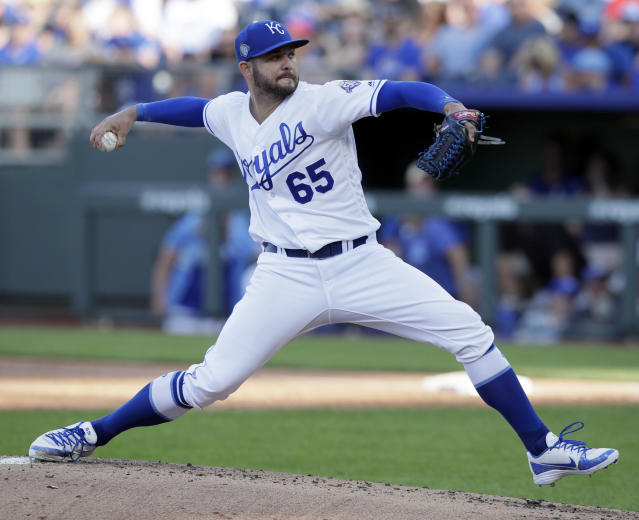 Kansas City Royals starting pitcher Jakob Junis delivers to a Minnesota Twins batter during the second inning of a baseball game at Kauffman Stadium in Kansas City, Mo., Saturday, July 21, 2018. (AP Photo/Orlin Wagner)