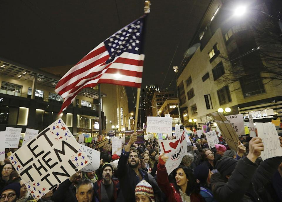 The chief executives, investors and entrepreneurs Yahoo Finance spoke to over the weekend expressed either surprise or disgust at President Trump's most recent executive order, which spurred protests across the country over the weekend. Source: AP Photo/Elaine Thompson