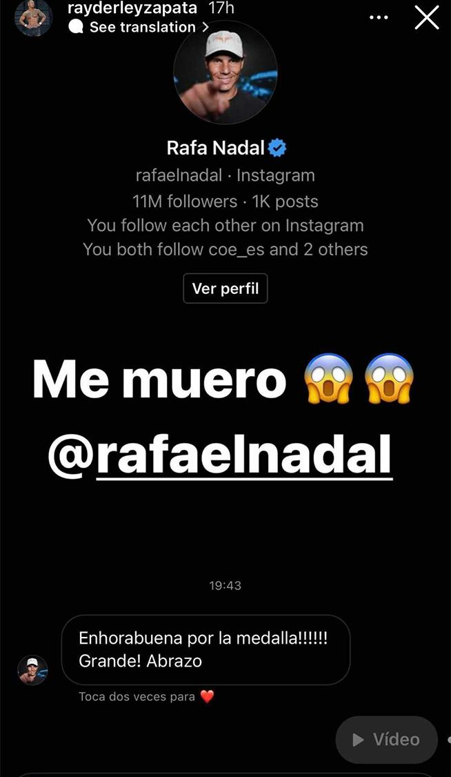 Rafa Nadal sent Rayderly Zapara a message on Instagram after his silver medal at the Tokyo Olympics. (Image: Instagram)