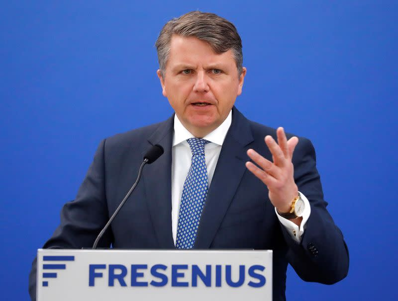 FILE PHOTO: Stephan Sturm, CEO of Fresenius, addresses the media during the company's annual news conference at the Fresenius head quarters in Bad Homburg
