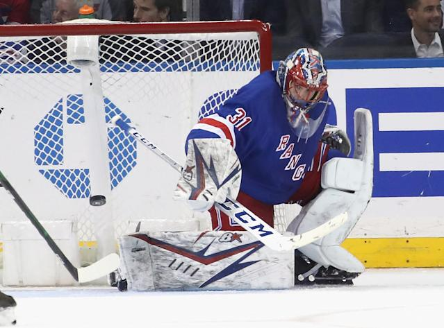 Three's been plenty of hype around Rangers goalie Igor Shesterkin, and so far the early results have been positive. (Photo by Bruce Bennett/Getty Images)