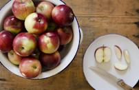 <p>Empire apples, which were developed in New York in the 1960s, are actually a cross between Red Delicious and McIntosh apples. They're crisp, juicy and have a nice sweet-tart flavor.</p>
