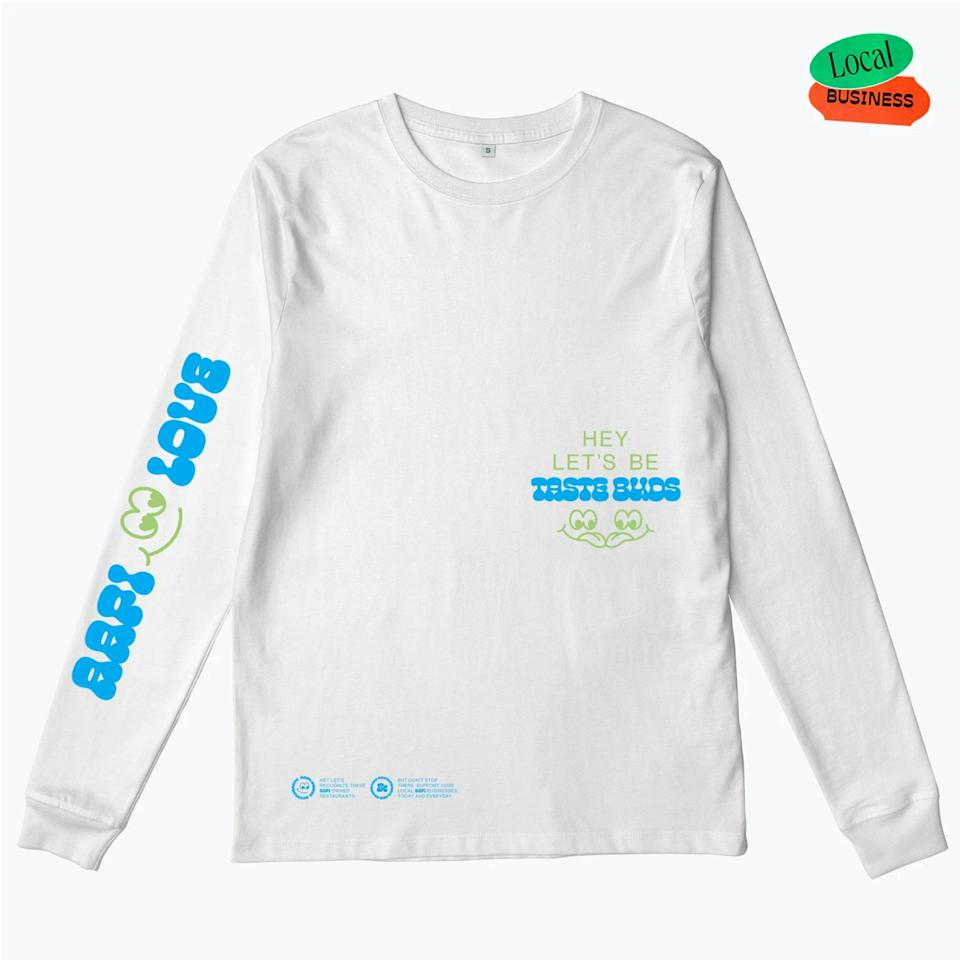 """Designed by two Asian-American friends, the AAPI Love Taste Bud shirt highlights AAPI-owned restaurants across America. 100% of the proceeds of this shirt go towards the <a href=""""https://www.gofundme.com/f/support-aapi-community-fund"""" rel=""""nofollow noopener"""" target=""""_blank"""" data-ylk=""""slk:Support the AAPI Community Fund"""" class=""""link rapid-noclick-resp"""">Support the AAPI Community Fund</a>. $50, Ever Press. <a href=""""https://everpress.com/aapi-love-taste-bud/aapi-love-taste-bud-2"""" rel=""""nofollow noopener"""" target=""""_blank"""" data-ylk=""""slk:Get it now!"""" class=""""link rapid-noclick-resp"""">Get it now!</a>"""