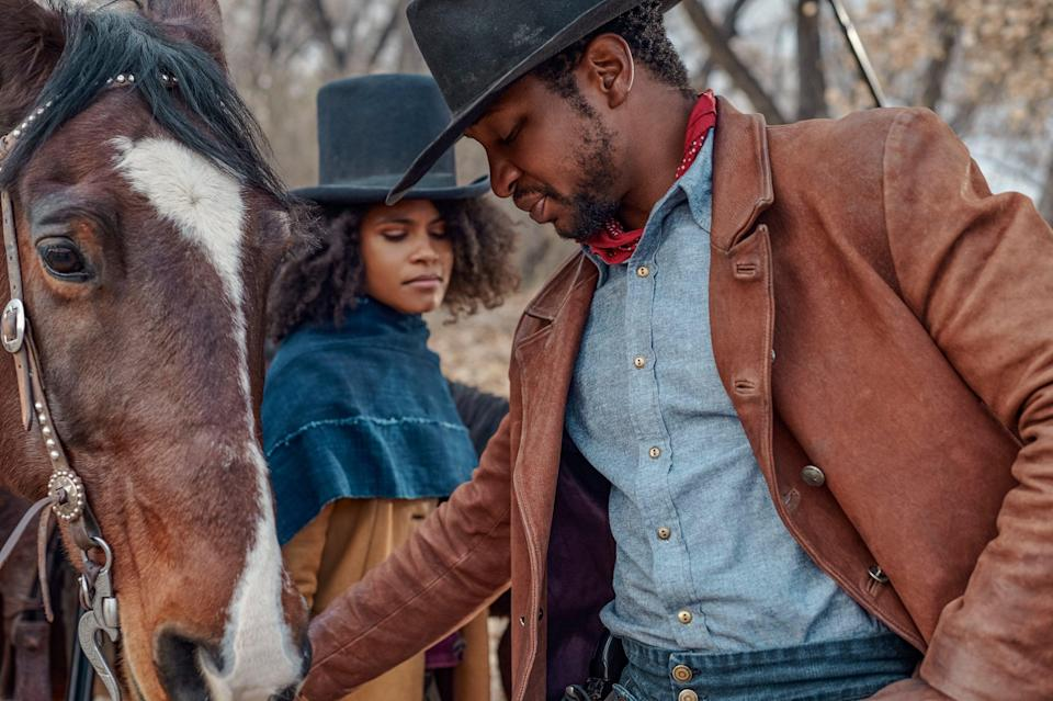 """<strong><h2><em>The Harder They Fall</em></h2></strong><br>Inspired by the forgotten real-life stories of African-American cowboys, Idris Elba, Zazie Beetz, Lakeith Stanfield and Regina King unite for an explosive and stylish film, dusting down the hackneyed genre for a """"righteously new school Western"""". Nat Love (Jonathan Majors) is an outlaw who assembles a cutthroat posse to take down the gang who murdered his parents in front of him (led by Elba). Revenge is a dish best served smoking-gun-hot, and delivered up by horseback-riding, sharpshooting outlaws in this Jay-Z produced action-packed film.<br><br><em>Out 22nd October. </em><span class=""""copyright"""">Photo Courtesy Of BFI</span>"""