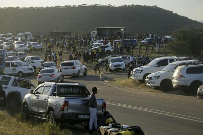 Supporters gathered in front of former South African president Jacob Zuma's home ahead of the deadline