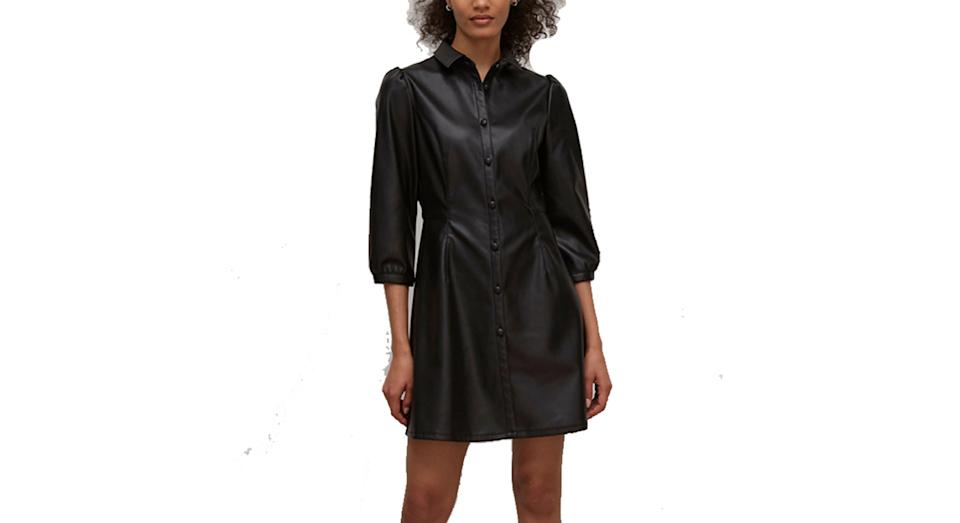Nobody's Child Faux Leather Mini Shirt Dress