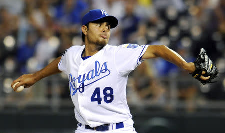 FILE PHOTO: Kansas City Royals closer Joakim Soria winds up a ninth inning pitch during the Royal's win over the Chicago White Sox in their MLB American League baseball game in Kansas City, Missouri July 19, 2011. REUTERS/Dave Kaup