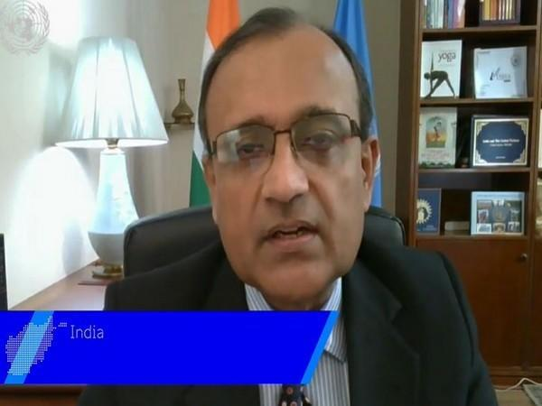 Ambassador TS Tirumurti, Permanent Representative of India to the United Nations, speaking at UN during Arria Formula Meeting on Friday. Photo/ANI