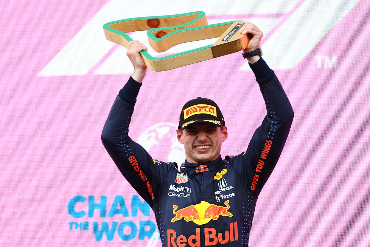 SPIELBERG, AUSTRIA - JUNE 27: Race winner Max Verstappen of Netherlands and Red Bull Racing celebrates on the podium during the F1 Grand Prix of Styria at Red Bull Ring on June 27, 2021 in Spielberg, Austria. (Photo by Bryn Lennon/Getty Images)