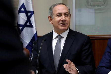 Israeli Prime Minister Benjamin Netanyahu chairs the weekly cabinet meeting in Jerusalem