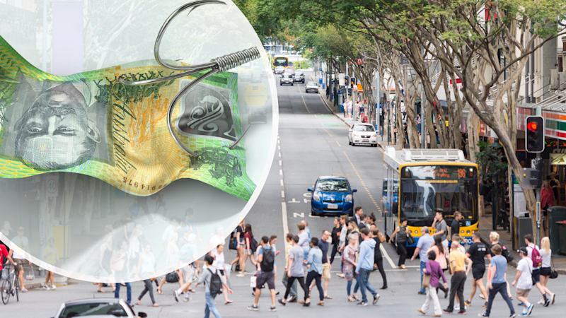 Pictured: Busy Australian street, and fish hook through Australian cash, suggesting scams in Australia. Images: Getty