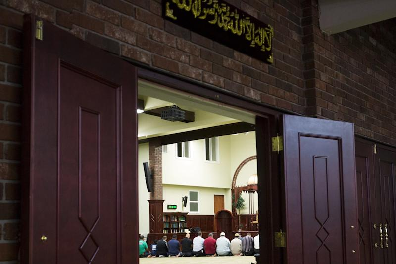 Prayers at the Islamic Center of Passaic County in Paterson, New Jersey, in 2015. The mosque has received threatening voicemails since the bike path attack in lower Manhattan. (Eduardo Munoz / Reuters)