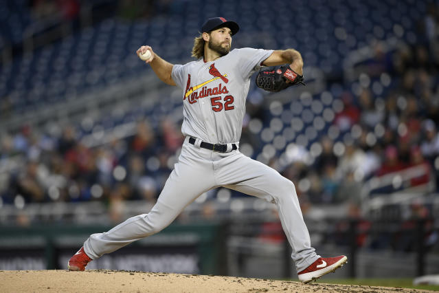 St. Louis Cardinals starting pitcher Michael Wacha delivers during the second inning of a baseball game against the Washington Nationals, Monday, April 29, 2019, in Washington. (AP Photo/Nick Wass)