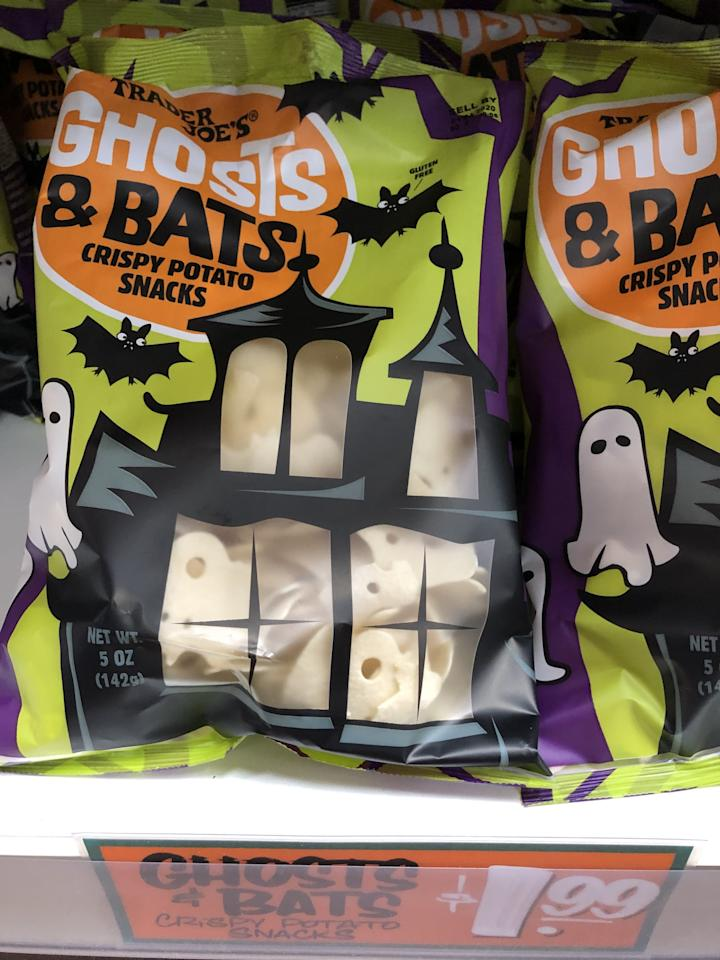 <p>These crispy potato snacks are adorably shaped like spooky ghosts and bats.</p>