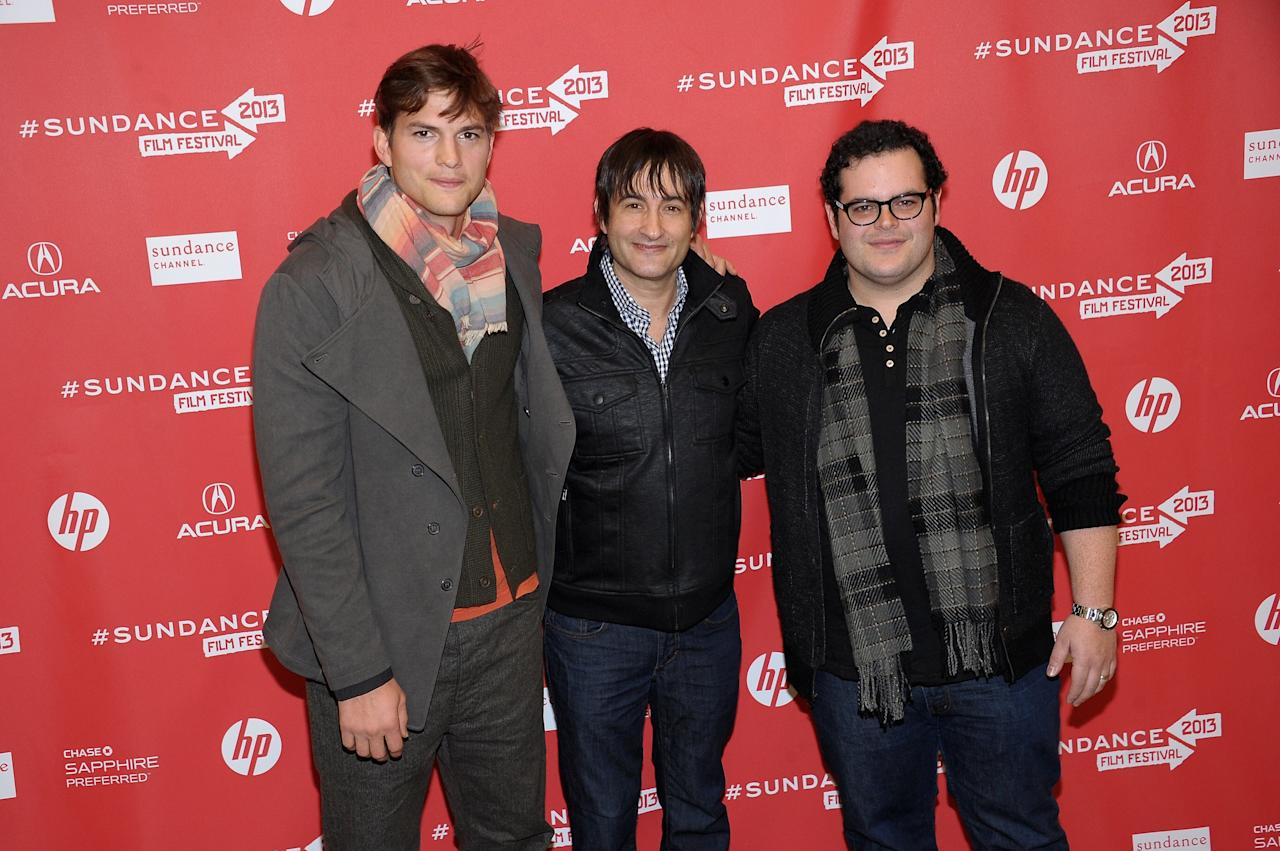 "PARK CITY, UT - JANUARY 25: Actors Ashton Kutcher (L) and Josh Gad (R) and director Joshua Michael Stern (C) attend the ""jOBS"" Premiere during the 2013 Sundance Film Festival at Eccles Center Theatre on January 25, 2013 in Park City, Utah.  (Photo by Michael Loccisano/Getty Images)"