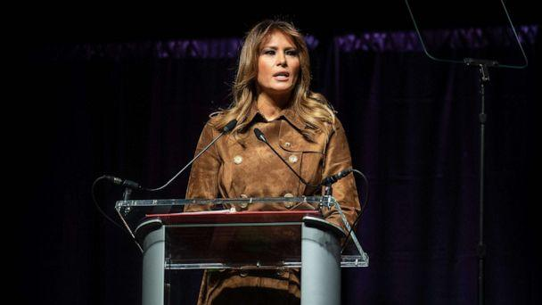 PHOTO: First Lady Melania Trump addresses the B'More Youth Summit in Baltimore, Nov. 26, 2019. (Nicholas Kamm/AFP via Getty Images)