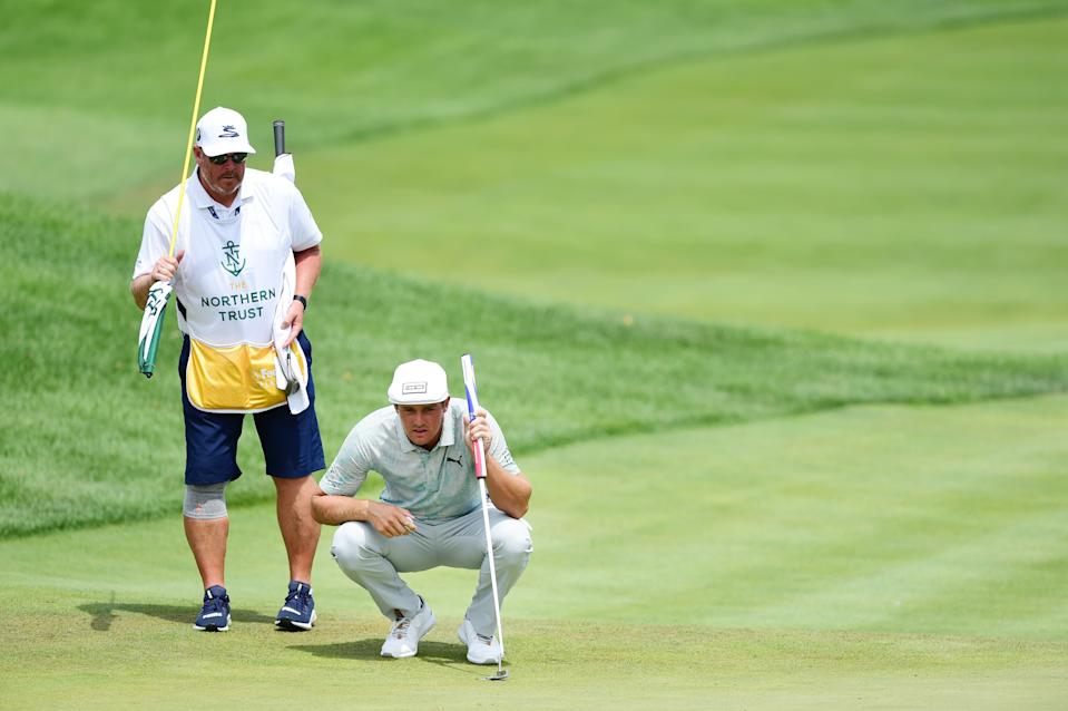 JERSEY CITY, NEW JERSEY - AUGUST 10: Bryson DeChambeau of the United States lines up a putt on the fifth green during the third round of The Northern Trust at Liberty National Golf Club on August 10, 2019 in Jersey City, New Jersey. (Photo by Jared C. Tilton/Getty Images)