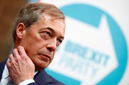 FILE PHOTO: Nigel Farage attends the launch of the newly created 'Brexit Party' campaign for the European elections, in Coventry, Britain April 12, 2019. REUTERS/Eddie Keogh/File Photo