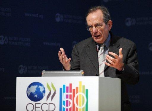 "OECD Chief Economist Pier Carlo Padoan, pictured in Paris in March, warns: ""the crisis in the euro area has become more serious recently, and it remains the most important source of risk to the global economy."""