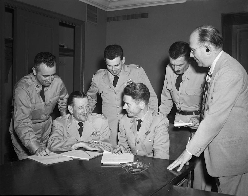 """<p>In 1952, the United States Air Force launched its third UFO program,<a href=""""https://www.popularmechanics.com/military/research/a30257166/project-blue-book-anniversary/"""" rel=""""nofollow noopener"""" target=""""_blank"""" data-ylk=""""slk:Project Bluebook"""" class=""""link rapid-noclick-resp""""> Project Bluebook</a>. After the previous program marked nearly 23 percent of UFO cases """"unexplained,"""" it became the mission of Project Bluebook to debunk UFO inquiries and make them go away. Although the Air Force shut down the program in 1969, the government continued to record encounters. </p>"""