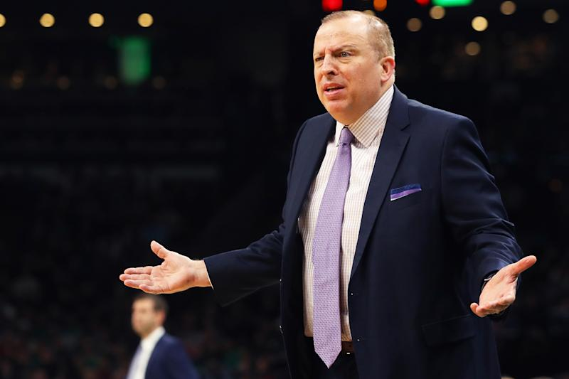 Tom Thibodeau is the Knicks' top candidate for their vacant head coaching job, whether he wants to be or not. (Photo by Maddie Meyer/Getty Images)