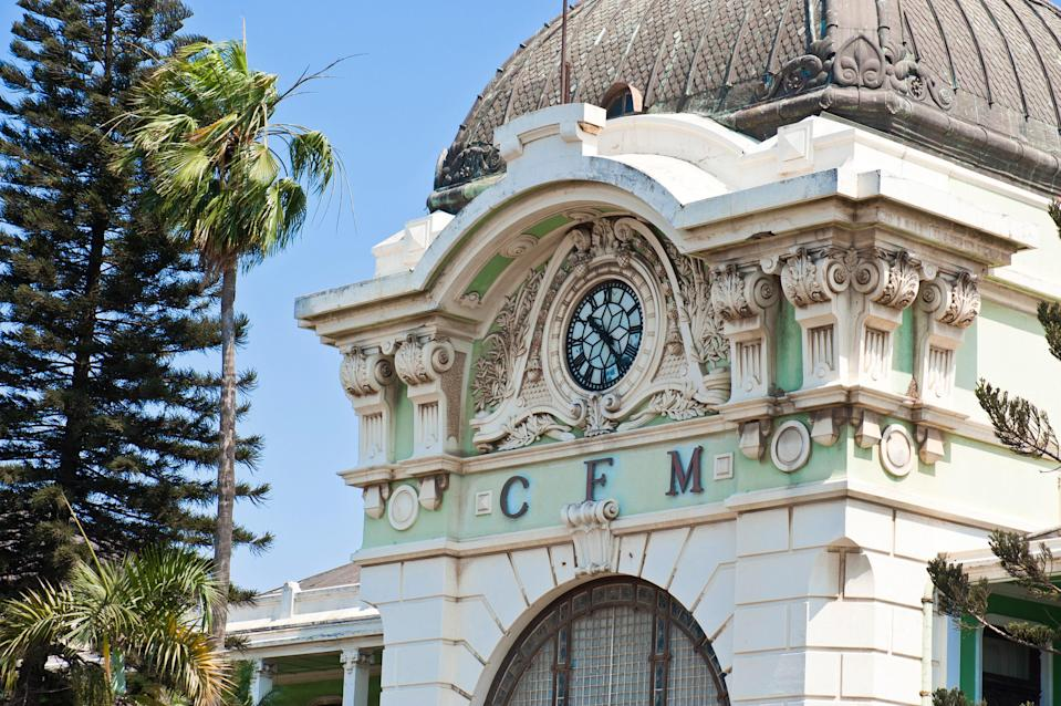 "This mint green, Beaux Arts–style station is one of the most recognizable buildings in Maputo, Mozambique's capital. Its design features vintage glass doors and wrought iron latticework, and its trains connect Mozambicans with <a href=""https://www.cntraveler.com/readers-choice-awards/africa/top-resorts-in-south-africa-readers-choice-awards?mbid=synd_yahoo_rss"" rel=""nofollow noopener"" target=""_blank"" data-ylk=""slk:South Africa"" class=""link rapid-noclick-resp"">South Africa</a>, Swaziland, and Zimbabwe. When visiting, allow extra time to explore the railway museum inside, which has information on the station's inception and two antique trains on display."