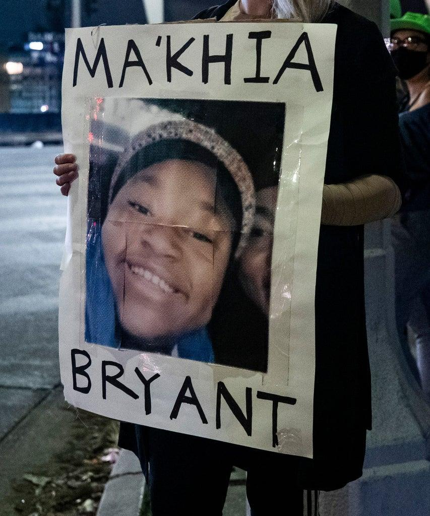 Mandatory Credit: Photo by ETIENNE LAURENT/EPA-EFE/Shutterstock (11868829a) A protester holds a poster displaying the portrait of Ma'Khia Bryant as people gathered to the news that former Minneapolis police officer Derek Chauvin was found guilty of all three charges in the murder of George Floyd in Los Angeles, California, USA, 20 April 2021. 16-year-old Ma'Khia Bryant was shot by a Columbus police officer outside of her home after she allegedly called the police for help. The shooting happened as the jury in Derek Chauvin was delivering the verdict. Reactions to Derek Chauvin trial verdict, in Los Angeles, USA – 20 Apr 2021