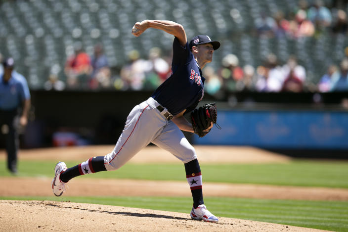 Boston Red Sox starting pitcher Nick Pivetta delivers against the Oakland Athletics during the first inning of a baseball game, Sunday, July 4, 2021, in Oakland, Calif. (AP Photo/D. Ross Cameron)