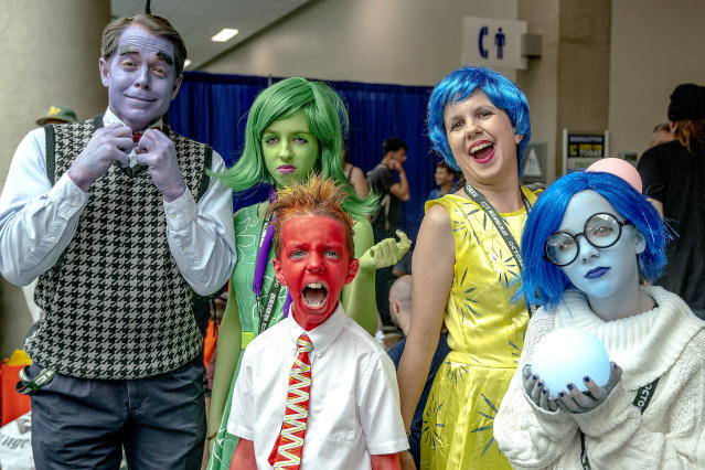 <p>Cosplayers dressed as <i>Inside Out</i> at Comic-Con International on July 20, 2018, in San Diego. (Photo: Christy Radecic/Invision/AP) </p>