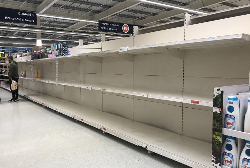 A SainsburyÕs supermarket in west Belfast with empty shelves where toilet rolls would have been as people are panic buying as cases of coronavirus rise. (Photo by Liam McBurney/PA Images via Getty Images)