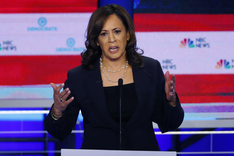 Democratic presidential candidate Sen. Kamala Harris, D-Calif., speaks during the Democratic primary debate hosted by NBC News at the Adrienne Arsht Center for the Performing Art, Thursday, June 27, 2019, in Miami. (AP Photo/Wilfredo Lee)
