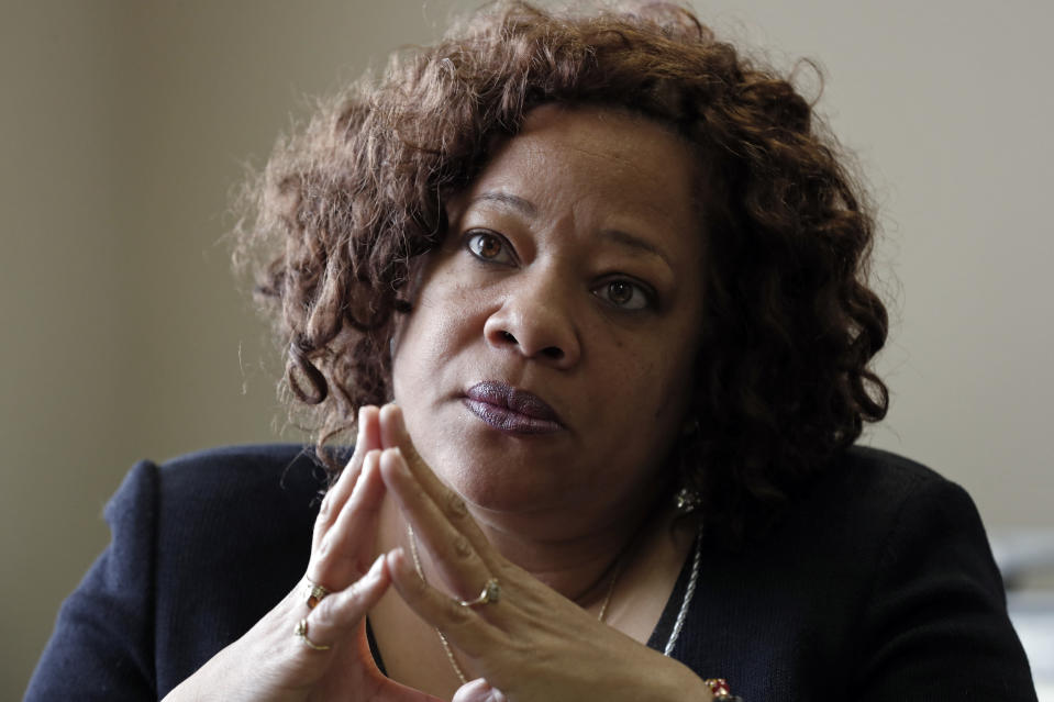FILE - In this Jan. 27, 2020, file photo, Democratic U.S. Senate candidate Erica Smith is seen during an interview in Raleigh, N.C. In addition to Virginia, two Black women are running for U.S. Senate from North Carolina in 2022: former state Supreme Court Chief Justice Cheri Beasley and former legislator Erica Smith. (AP Photo/Gerry Broome, File)