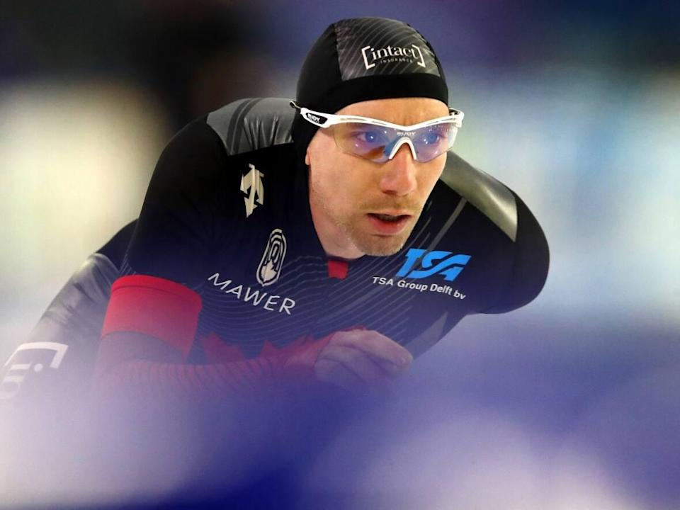 Canada's Ted-Jan Bloemen, seen above in February, won the men's 5,000 metres at the Canadian long track championships on Wednesday in Calgary. (Dean Mouhtaropoulos/Getty Images - image credit)