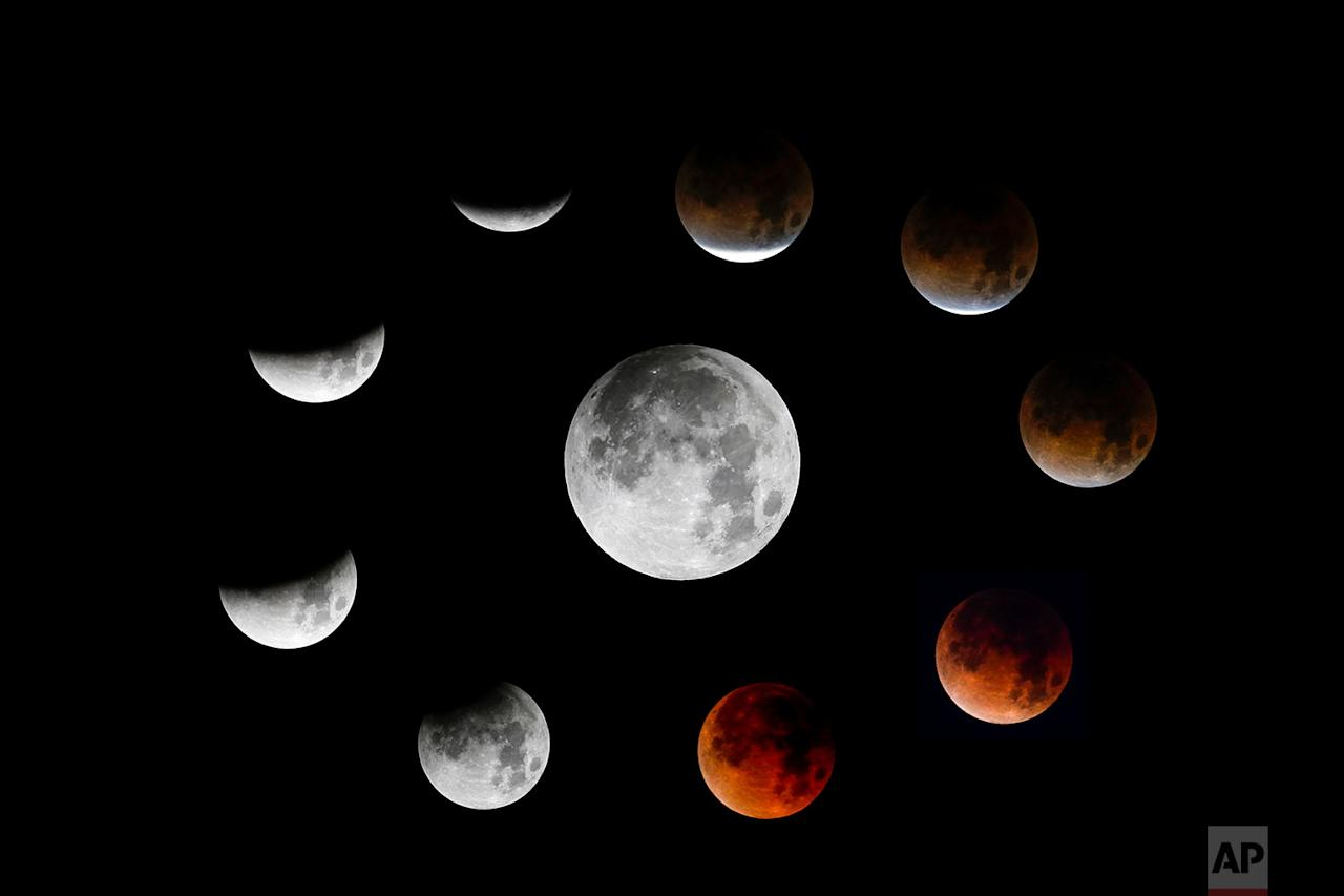 "<p>This photo combination shows the different stages of the ""Super Blue Blood Moon"" during a lunar eclipse is seen from the Santa Monica, California. (AP Photo/Ringo H.W. Chiu) </p>"