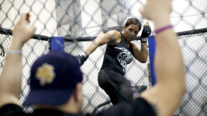 """<div class=""""inline-image__caption""""> <p>MMA fighter Fallon Fox trains at the Midwest Training Center in Schaumburg, Illinois, April 25, 2013. </p> </div> <div class=""""inline-image__credit""""> Sally Ryan/The New York Times via Redux </div>"""