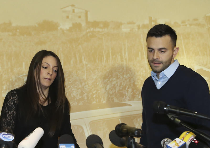 """Meredith Kercher's sister Stephanie, left, and brother Lyle, arrive for a press conference in Florence, Italy, Friday, Jan. 31, 2014, the day after an appeals court sentenced Amanda Knox to 28 ½ years in prison and her former boyfriend Raffaele Sollecito to 25 years for the 2007 murdering of Meredith Kercher in Perugia, central Italy. For Kercher's family, the verdict was another step in what has been more than six years of uncertainty about how Meredith died and finding justice. """"I think we are still on the journey of the truth and it may be the fact that we don't ever really know what happened that night, which will be something we have to come to terms with,"""" said Stephanie Kercher. (AP Photo/Antonio Calanni )"""