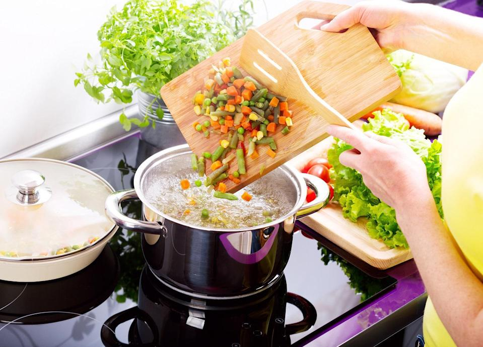 """<p>Stock is easy to make at home. If you notice your veggies and herbs start to turn, freeze them in a plastic bag and then repurpose them for some <a href=""""https://www.thedailymeal.com/principles-making-stock?referrer=yahoo&category=beauty_food&include_utm=1&utm_medium=referral&utm_source=yahoo&utm_campaign=feed"""" rel=""""nofollow noopener"""" target=""""_blank"""" data-ylk=""""slk:homemade vegetable stock"""" class=""""link rapid-noclick-resp"""">homemade vegetable stock</a>. Avoid using starchy vegetables like potatoes and turnips for stock. But ginger, carrots, onions, garlic, mushrooms, leeks, thyme and parsley all make flavorful options. Once your stock is done, use it as a base for these <a href=""""https://www.thedailymeal.com/best-recipes/15-soups-and-stews-will-keep-you-warm-winter-slideshow?referrer=yahoo&category=beauty_food&include_utm=1&utm_medium=referral&utm_source=yahoo&utm_campaign=feed"""" rel=""""nofollow noopener"""" target=""""_blank"""" data-ylk=""""slk:hearty soups and stews"""" class=""""link rapid-noclick-resp"""">hearty soups and stews</a>.</p>"""