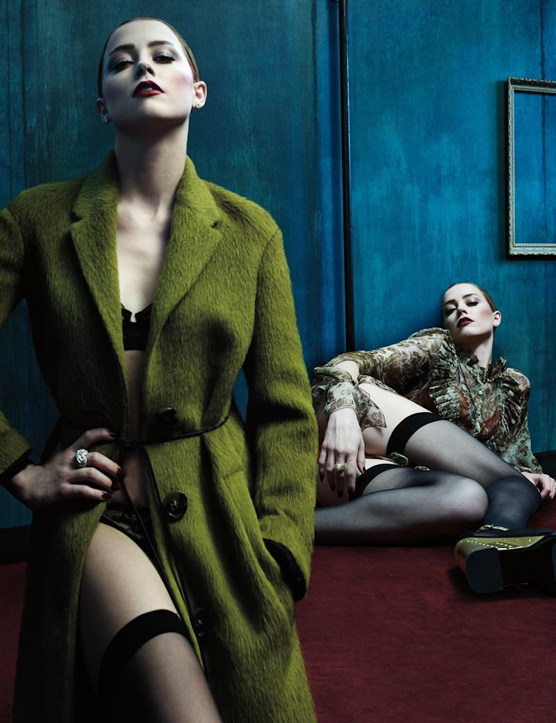 From left: Burberry Prorsum coat; La Perla bra; Deborah Marquit briefs; De Beers earrings; Fabergé ring; Céline belt; Falke thigh-highs (throughout). Givenchy by Riccardo Tisci dress; Fleur of England bra; Lynn Ban earrings; David Yurman ring; Prada wedges. Beauty note: Prep red lips to last with Covergirl LipPerfection Lipliner in Passion.