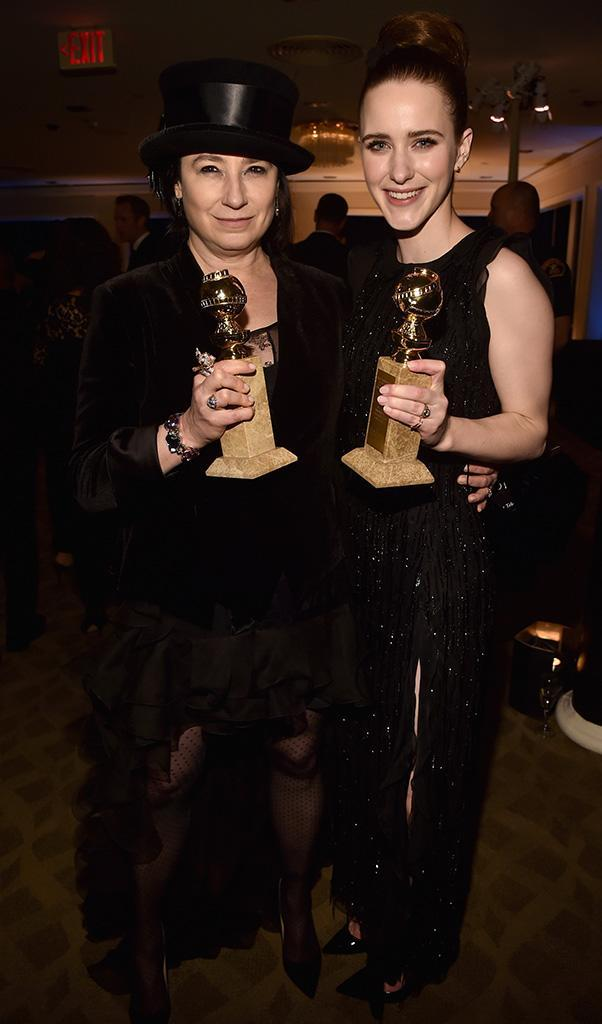 <p><em>The Marvelous Mrs. Maisel</em> writer/producer Amy Sherman-Palladino and star Rachel Brosnahan pose with awards at the Amazon Studios party at the Beverly Hilton Hotel. (Photo: Alberto E. Rodriguez/Getty Images) </p>