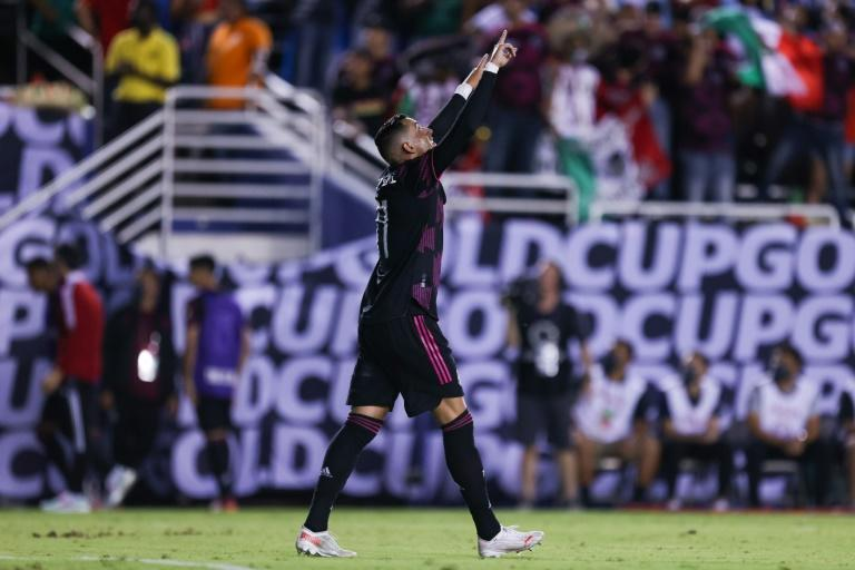 Mexico forward Rogelio Funes Mori celebrates after scoring his second goal in the second half of Mexico's 3-0 victory over Guatemala in the CONCACAF Gold Cup