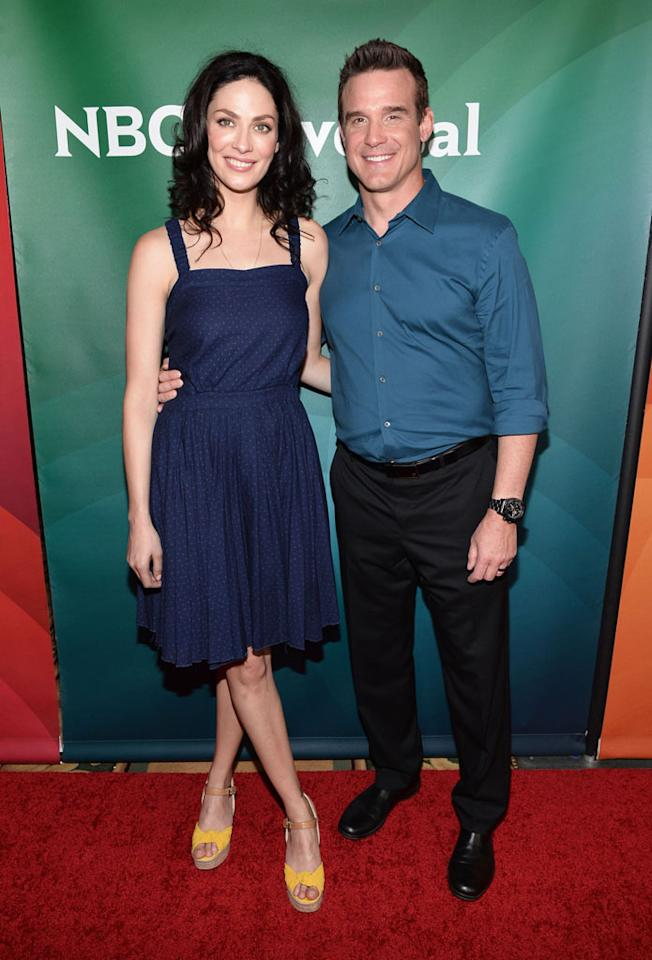 "Joanne Kelly and Eddie McClintock (""Warehouse 13"") attend the 2013 NBC Universal Summer Press Day held at The Langham Huntington Hotel and Spa on April 22, 2013 in Pasadena, California."