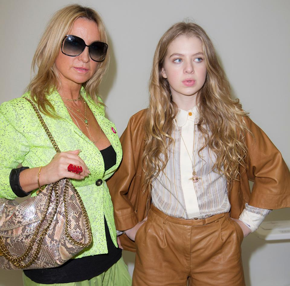 Meg Mathews and her daughter Anais Gallagher arrive to watch the show by Vivienne Westwood during London Fashion Week, at the Saatchi Gallery in west London, Sunday, Feb. 17, 2013. (Photo by Joel Ryan/Invision/AP)